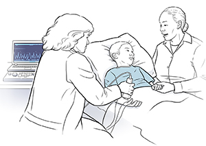 Child in hospital bed with woman sitting nearby. Healthcare provider is holding an EMG device against child's forearm.
