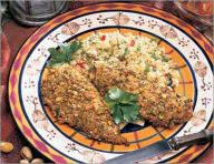 Chicken in a curry-pistachio crust